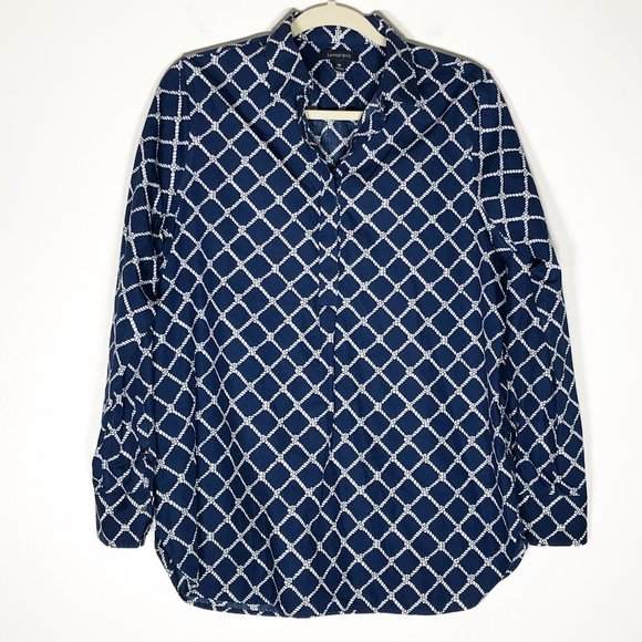 Lands' End Popover Blouse Womens 10 Blue White